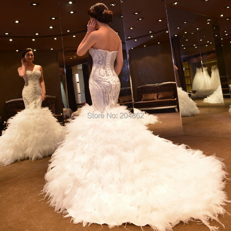 Fishtail Wedding Dress With Train : Wedding dress fishtail bridal gown with cm feather train from