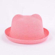 الأطفال سترو قبعة لطيف الصيف الأذن الديكور قبعات للحماية من الشمس للأطفال الفتيات الفتيان الصلبة مرن شاطئ كاب بنما(China)