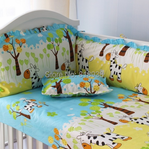With Filler 5 Pieces Baby Cot Crib Bedding Set Baby Nursery Cot New Pattern With Sheet And Fitted Bumpers<br><br>Aliexpress