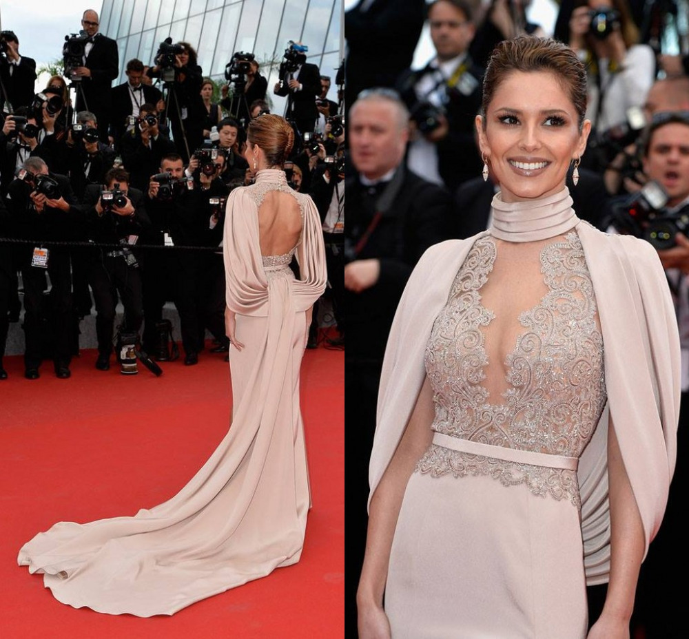 Uniques Design Marie Claire Red Carpet Dresses Sexy Blackless Appliques With Jacket Mermaid 2015 Cannes Film Festival Dress(China (Mainland))