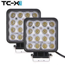 TC-X 2 pcs 16 x 3W LED Work Lights Car Trailer Tractor Truck Light Fog Lamp Square Flood Extra Bright for Boat Wholesale(China (Mainland))