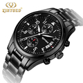 Kinyued Brand Good Quality Men Watches Metal All Black Quartz Mens Watch Day Calendar leather strap