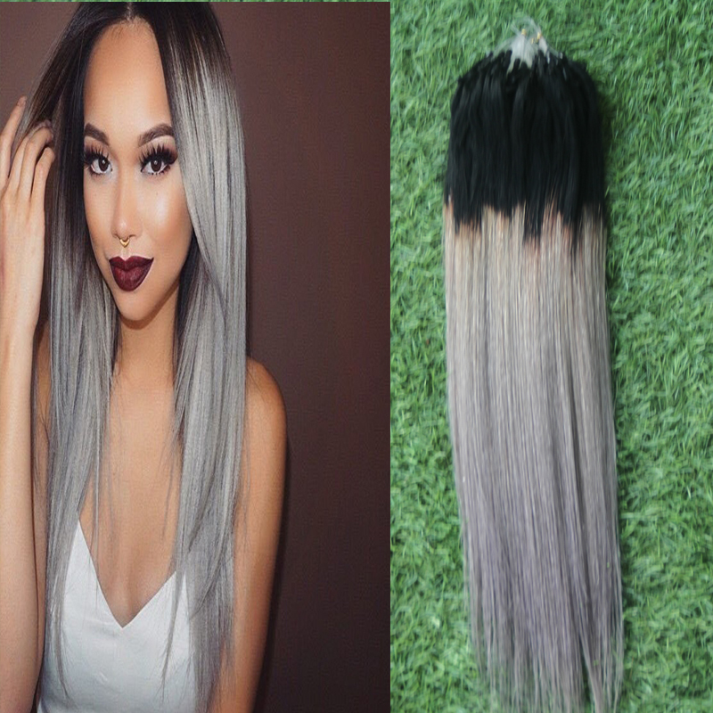 7A Silver Grey Ombre Human Micro Loop Ring Extensions 1B/greyOmbre Micro Ring Hair Extensions 100g Micro Loop Hair Extensions