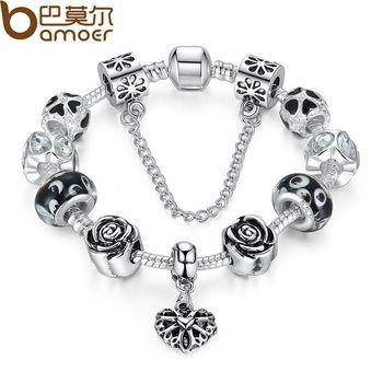 4 цветов 925 серебряных в форме сердца браслет с цепью безопасности и черный бусины ...