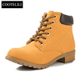Brand Fashion Women Ankle Boots Heels Lace up Casual Shoes Woman Oxfords Black Yellow Tooling Boots