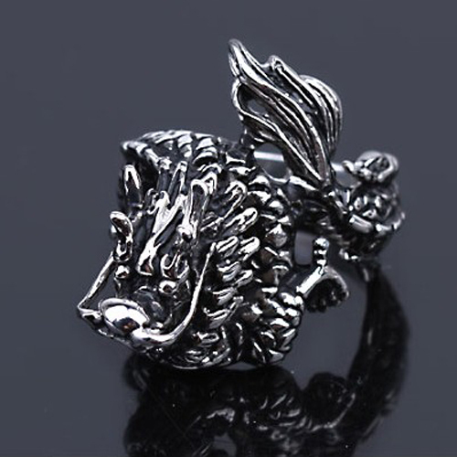 Casting domineering Chinese dragon-shaped titanium steel ring Men charm rings Stainless Jewelry Mixed batch - Small conch store