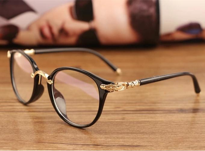 Black Frame Glasses Trend : Aliexpress.com : Buy Fashion cute Chrome Glasses Black ...