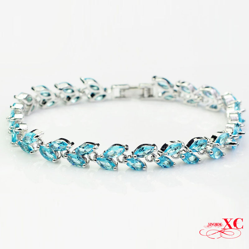 Bracelets for Women Hot Fine Jewelry Fashion Ladys pulseiras bangles Blue Sapphire AAA Zircon 14KT White Gold Filled BR0052<br><br>Aliexpress