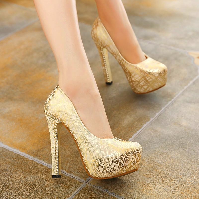 2016 women shoes high heel fashion round toe platform high heels valentine shoes elegant women pumps sexy wedding shoes silver