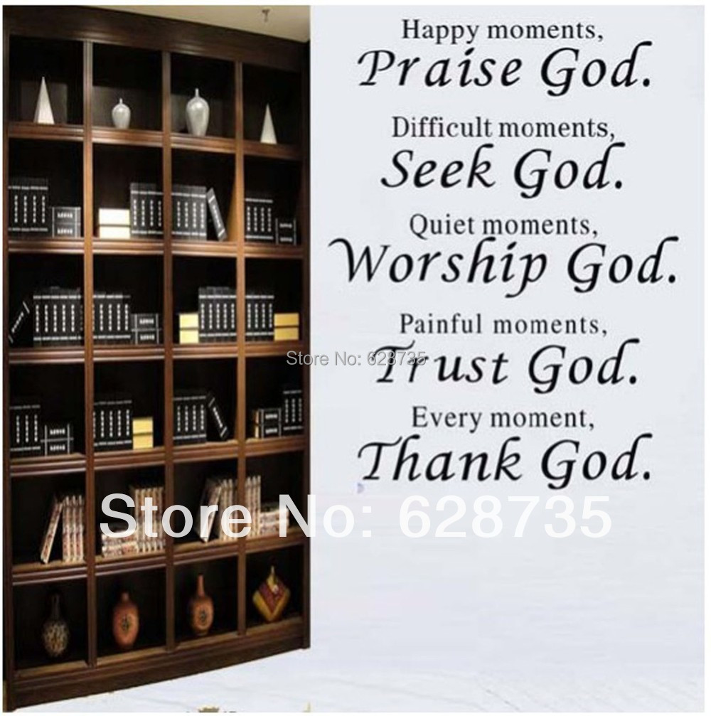 Bible Verse Every Moment Thank God Wall Quote Sticker Living Room Religious Wall Stickers Home