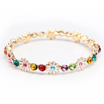 Vintage oil little daisy rhinestone hand ring female quality alloy bracelet jewelry gift