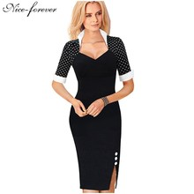Nice-forever Polka Dots Elegant Women Patchwork Buttons Square Neck Sheath Dress business Wear to Work Split Pencil dresses b47(China (Mainland))