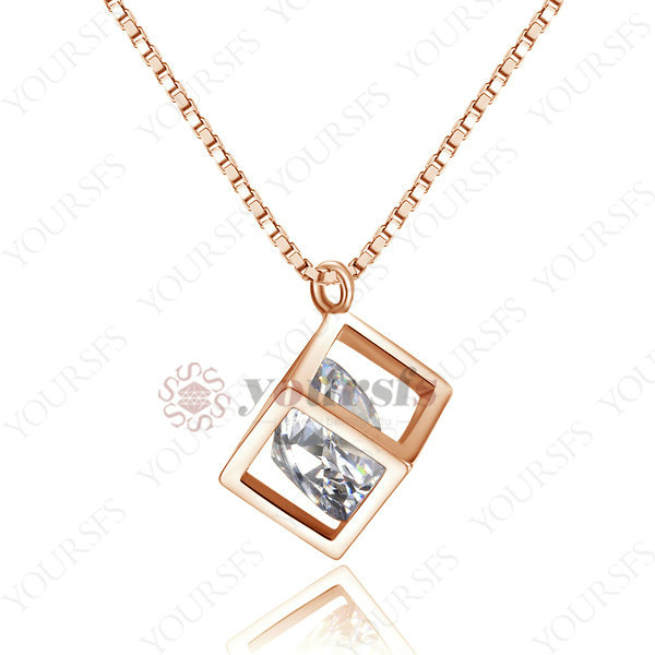 Shadow Box Pendants real 18k rose gold Plated necklace for women Use Australia Crystal N1248R1 Drop Ship(China (Mainland))