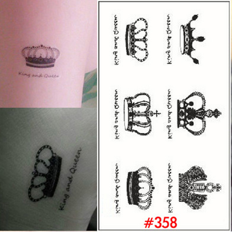 1 Sheet Elegant Queen Crown Tattoo Design Temporary Tattoo Stickers Paste Waterproof Temporary Tattoos Sticker Tatoo WTA0358(China (Mainland))