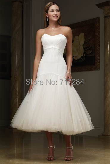 Customized light satin tulle material mid calf length for Calf length wedding dresses