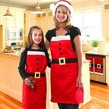 Hot Selling Christmas Kitchen apron Bar Decor Santa Claus Red Xmas Family Party Aprons Avental kitchen accessories