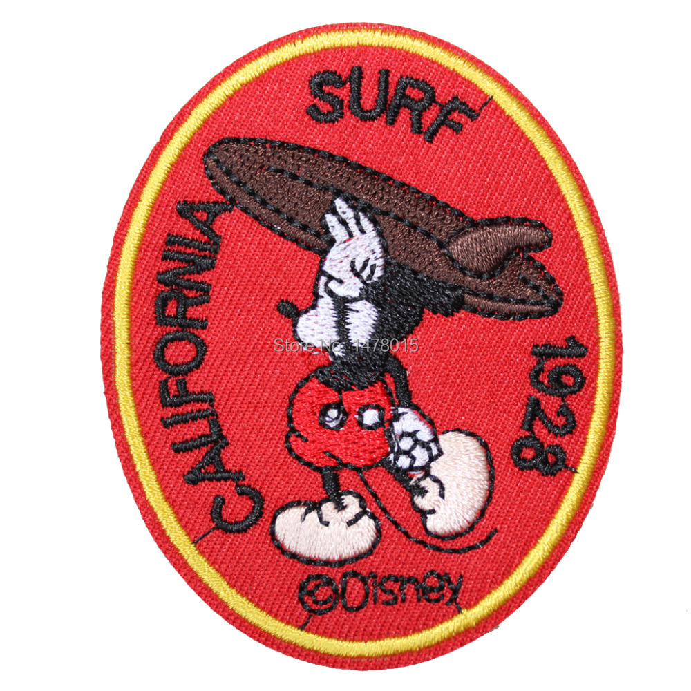 Wholesale!6pcs Embroidered Round Iron On Patches-1928 Surf California Surfer Mickey Garment Brand Applique 2.95x2.36inch(China (Mainland))