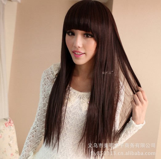kinky straight full lace wig designs for sex women high quality and sent gifts hair net and hair pins wig brown straight(China (Mainland))