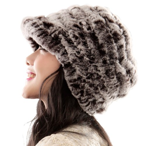 Fashion Ursfur Women's Rex Rabbit Fur Peaked Caps Lovely Girls Female Rabbit Hats Multicolor (coffee color) Free Shipping(China (Mainland))