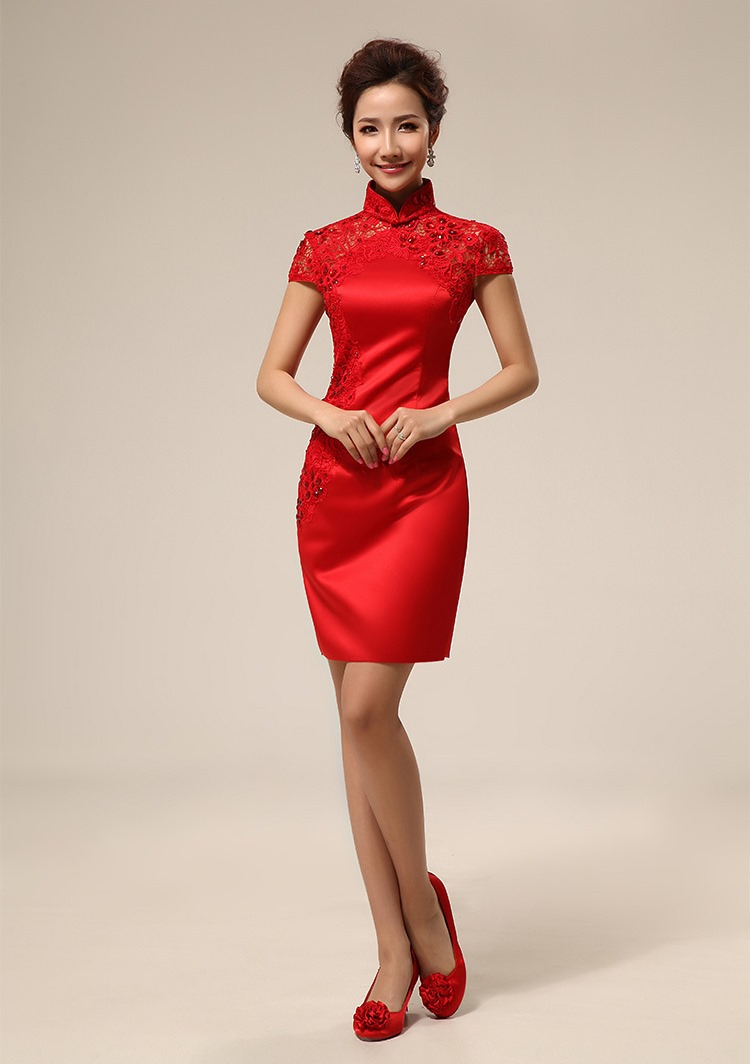 Free shipping Red short Oriental Dress Chinese traditional Dress wedding for party girl female women Qipao fashion Cheongsam Red(China (Mainland))