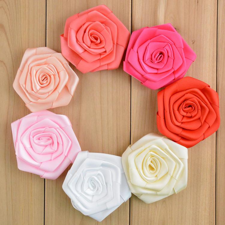 50pcs lot 1 9 handmade satin rosette for diy craft hair accessories fabric chiffon rose flowers