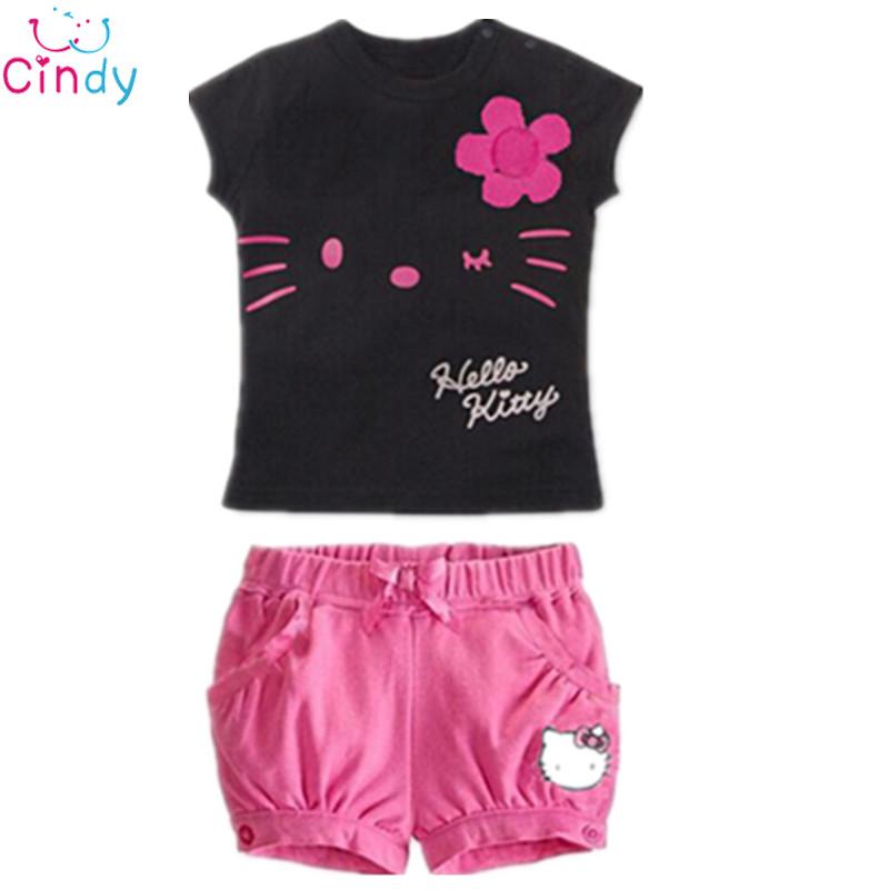 Drop Shipping New 2015 Children Hello Kitty Sets Girls Sport Clothing Set Baby Kids Clothes Cute Top Tees T Shirt Shorts Pants(China (Mainland))