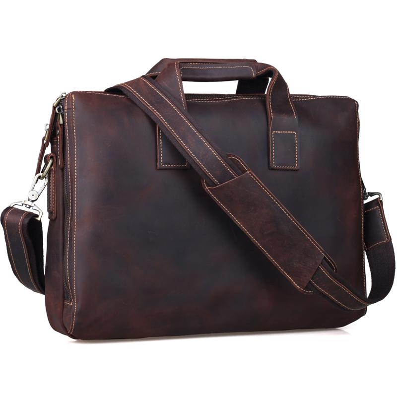 "TIDING Cowhide leather handbag brown business briefcase 15"" laptop bag vintage simple style shoulder bag 1063(China (Mainland))"