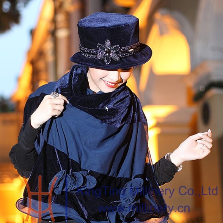 Fashion Women Hat Winter Warm Velvet Shawl Trim Ribbons Flower - Hats Shop store