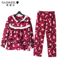 Song Riel cute cartoon printed long sleeved pajamas men and women couple home service package sweet