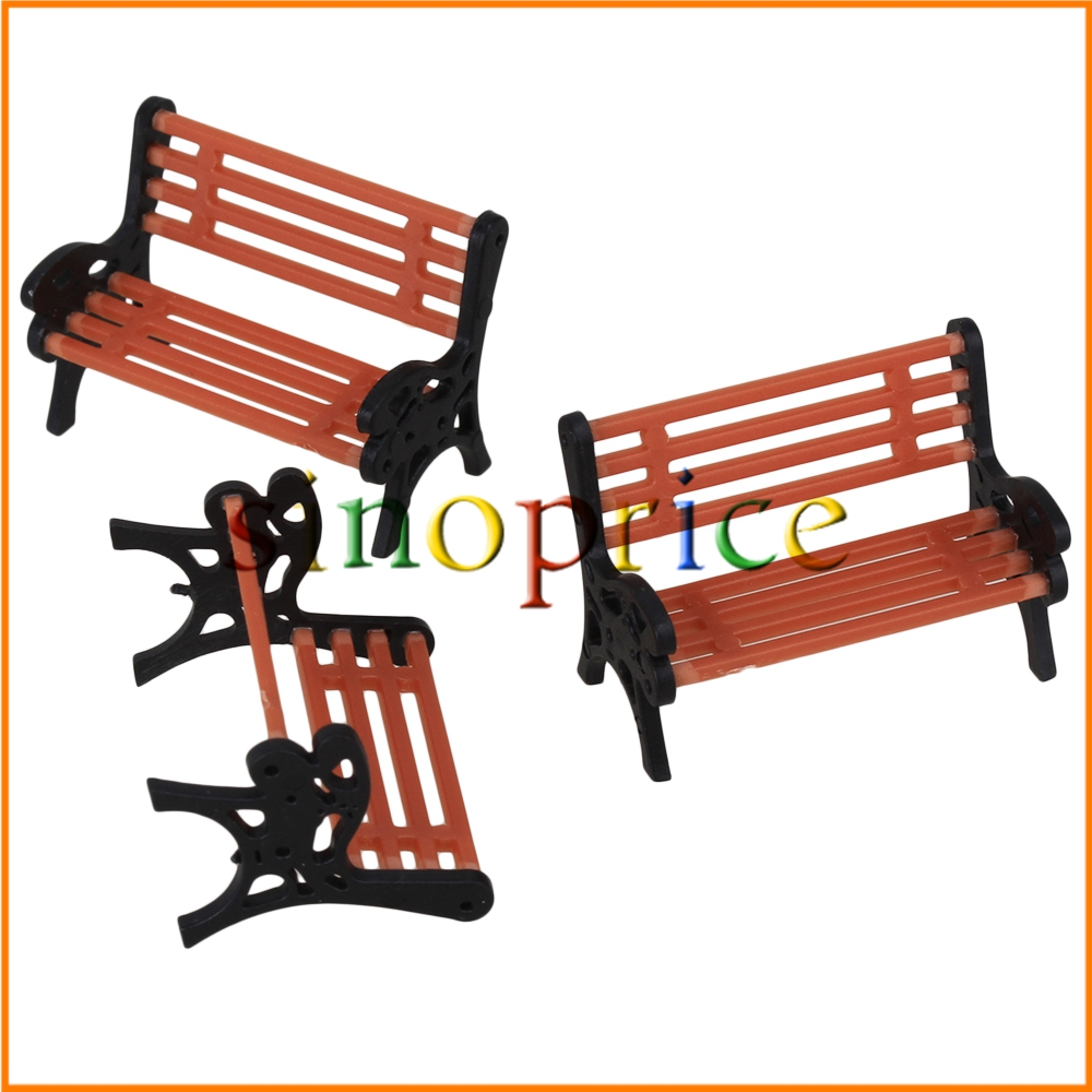 Black and Orange Model Bench Chair 1:75 Scale Train Platform Garden Park Street Scenery Layout Pack of 10(China (Mainland))