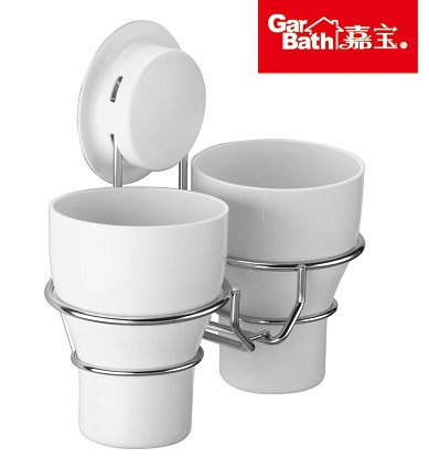 Garbath Bathroom Super Strong Suction Cup Double Holder Plastic Cups & Stainless Steel Ring - Sky Home store