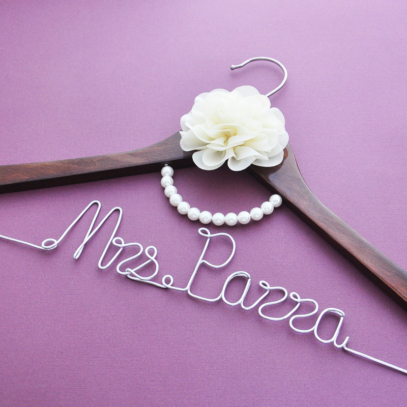 Custom wedding dress hanger personalized wedding hanger for Personalized wire wedding dress hanger