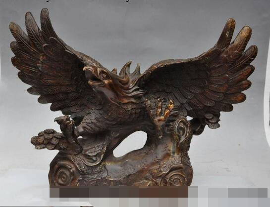 S02100 china fengshui bronze Pine animal Eagle Hawk bird king Unfold Wing flying statue (B0413)(China (Mainland))