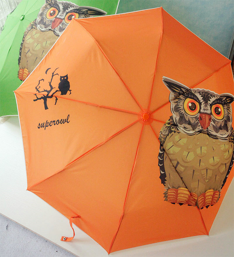 automatic umbrella free shipping new creative super cute owl triple dual wind Korean cartoon umbrella(China (Mainland))