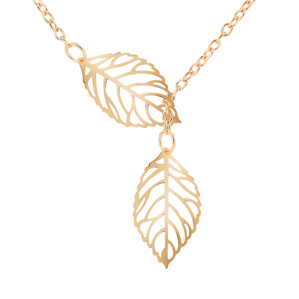 New Design personality Pendant Necklaces Silver Gold Plated Hollow Double Leaf Necklace Fashion Clavicle Chain Jewelry For Women(China (Mainland))