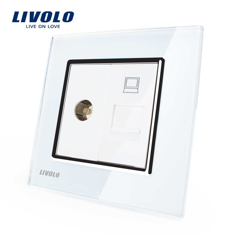 Manufacture Livolo, White Crystal Glass Panel, 2 Gangs Wall Computer and TV Socket / Outlet VL-C791VC-11, Without Plug adapter(China (Mainland))