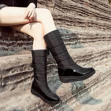 Krazing Pot kar botları platformu yüksek topuklu kama saçak kadın kış pamuklu ayakkabılar sıcak tutmak yuvarlak ayak muhtasar orta buzağı çizmeler(China)