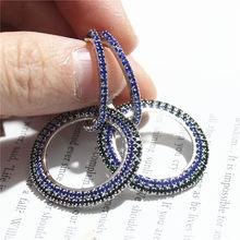 Thiết kế mới đồ trang sức sáng tạo cao cấp thanh lịch pha lê bông tai vòng Vàng và bạc bông tai cưới bông tai bên cho phụ n(China)