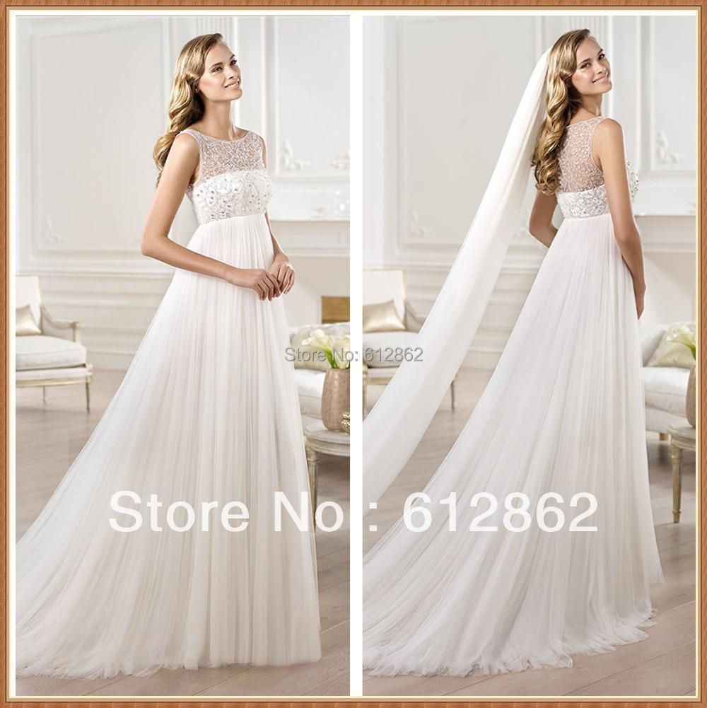 2016 elegant sleeveless beaded bodice draped tulle skirt for Empire waist tulle wedding dress