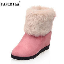 Buy Gladiator Snow Boots Half Short Flats Boot Warm Thickened Fur Plush Winter Mid Calf Snow Boots Woman Shoes Size 34-43 for $23.98 in AliExpress store