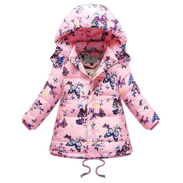 Девушки Зимнее Пальто 2015 Новый Бренд С Капюшоном Бабочки Девушки Зимняя Куртка Дети Вниз Пальто Мода Дети Куртки для Девочек