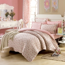 cotton bedding set 4pc duvet cover set pink flowers for girls sheet bed linen pillowcase US twin full queen size freeshipping(China (Mainland))