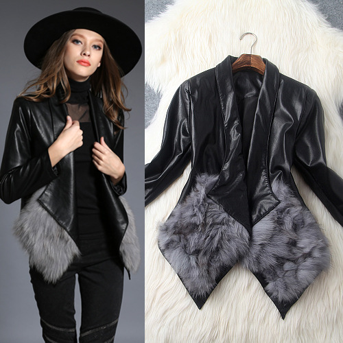 Winter 2015 women's new casual bomber fashion style womens coats jackets PU leather coat fox fur cardigan wild Slim Jacket