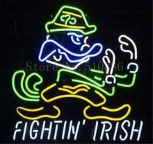 "NEON SIGN For NCAA College Football Notre Dame Fighting Irish  GLASS Tube BEER BAR PUB  store display  Shop Light Signs 20*18""(China (Mainland))"