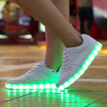 New 2015 7 Colors LED luminous shoes unisex led sneakers men & women sneakers USB charging light led shoes for adults led shoes
