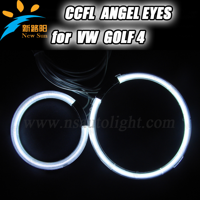 Free Shipping CCFL angel eyes 9-16V DC 90mm&125mm 8000k white halo rings bulbs for GOLF 4 auto headlights ccfl rings(China (Mainland))