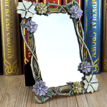 Dual Purpose Flower Vanity Makeup Mirror Portable Cosmetics Mirror With Photo Frame Novelty Compact Mirror(China (Mainland))