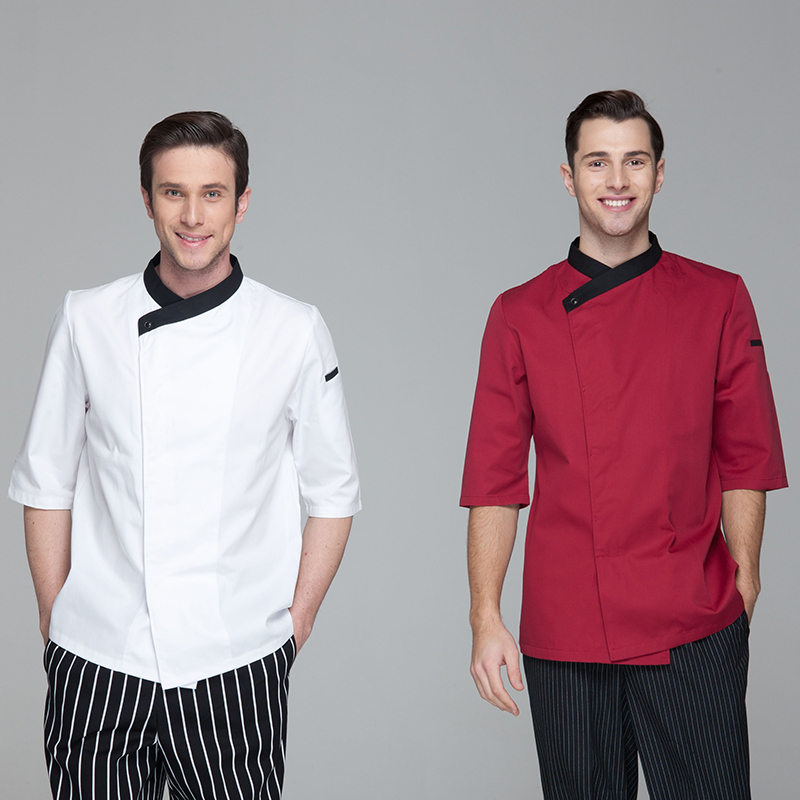 Restaurant Hotel Kitchen Chef Jackets Coats Uniform 3/4 Long Sleeves Sideway Collar Hidde Placket White Wine Red Color(China (Mainland))