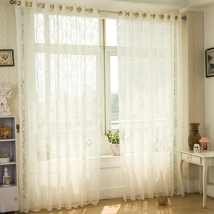 modern luxury white tulle curtains for living room with valanc persianas rideaux a anneaux. Black Bedroom Furniture Sets. Home Design Ideas