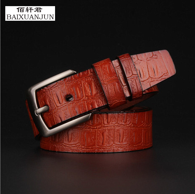 [BAIXUANJUN] The new men's pin buckle belt high quality men's fashion boutique brand pure leather belt jeans belt(China (Mainland))